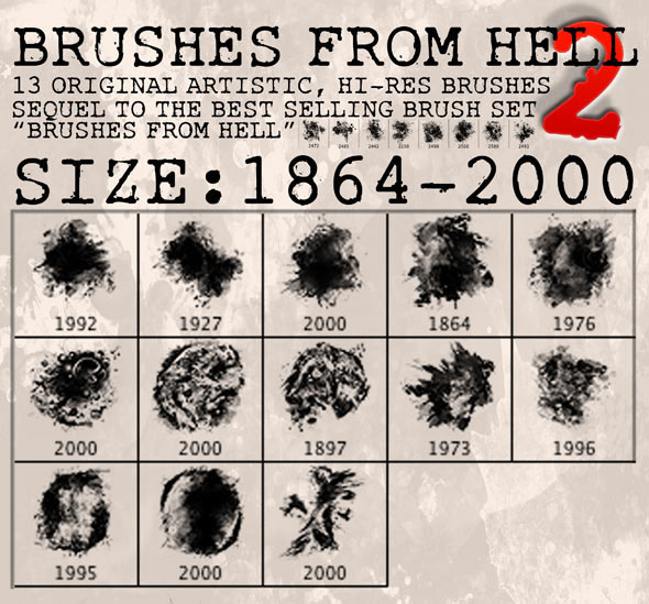 13 Hi-Res Brushes from Hell 2