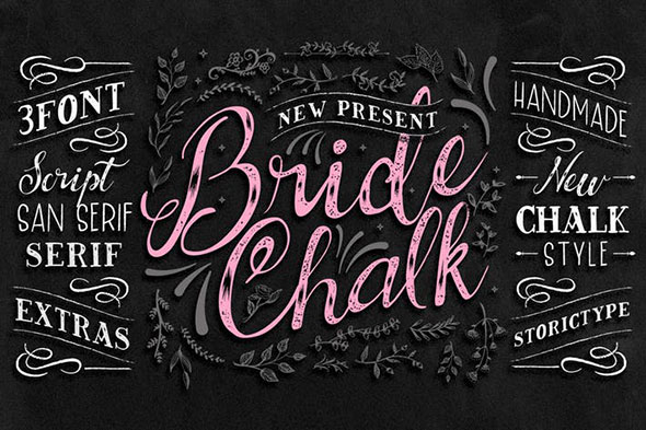 BrideChalk Typeface ( 3 FONT + EXTRAS)