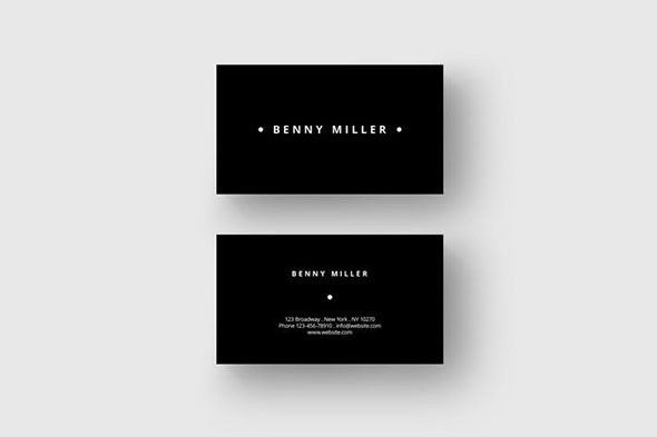 Minimal black business card