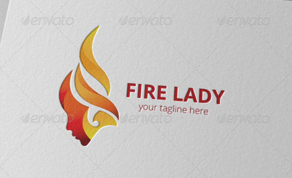 Fire Hair Woman Logo