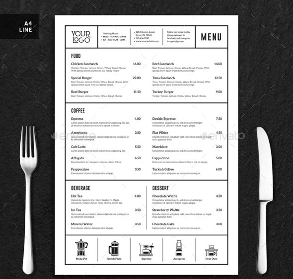 Coffee Menu Minimalist Clean