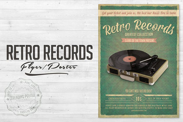 Retro Records Vol. 2 Flyer Poster