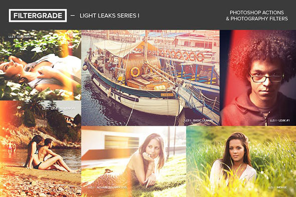 FilterGrade Light Leaks Photoshop Actions S1