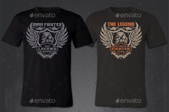 Grunge and Vintage MMA T-shirt Theme