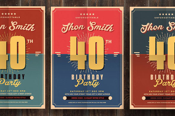 Retro Birthday Party Flyer