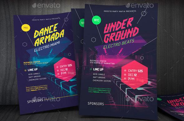 Futuristic Indietronica Music Event Poster