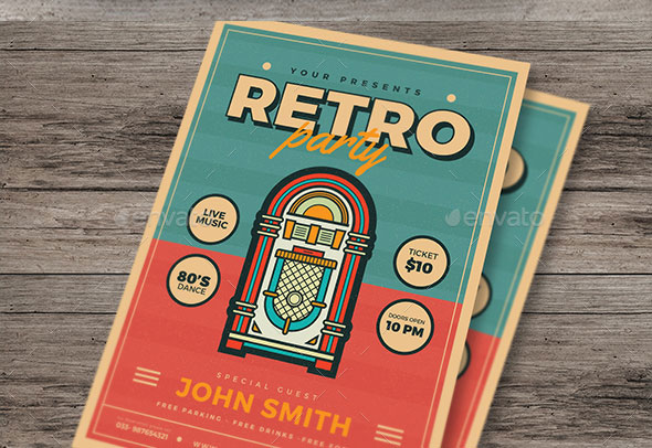 Modern Retro Jukebox Party Flyer