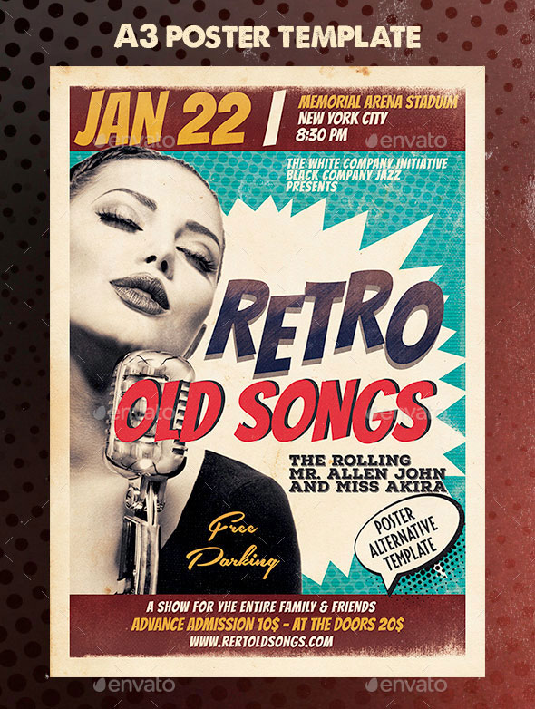 Retro Event Poster A3 Template
