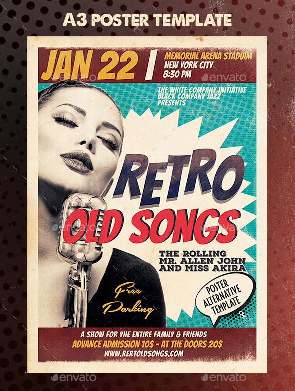 Retro Event Poster A3 Template
