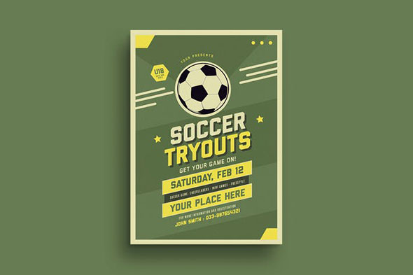 Old Soccer Tryouts Flyer