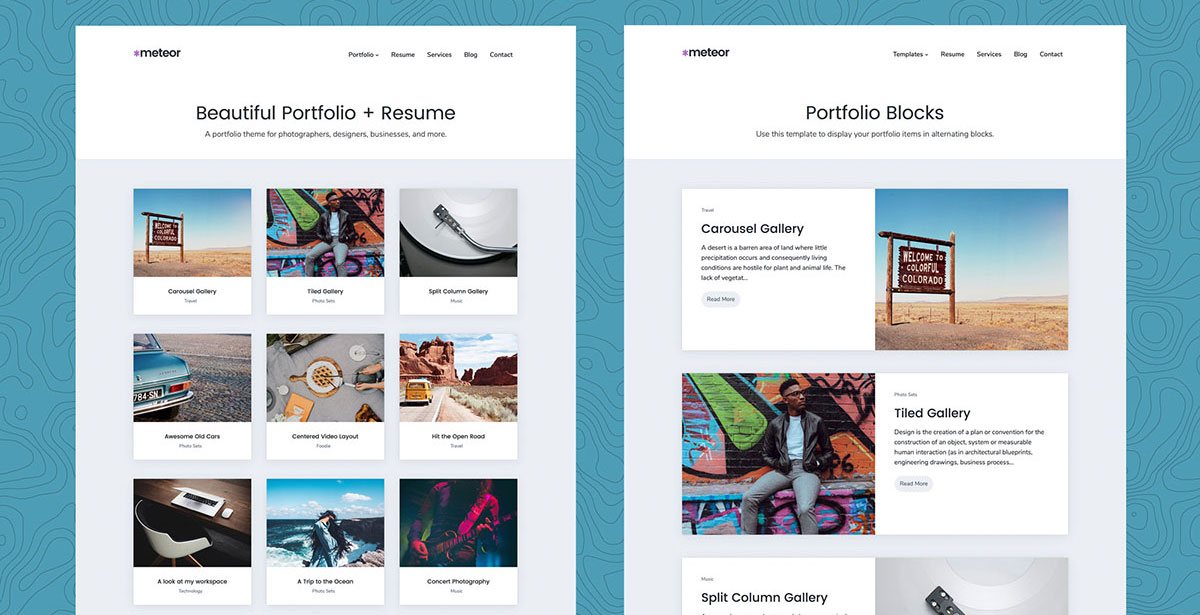 Meteor - Beautiful Portfolio and Resume WordPress Theme