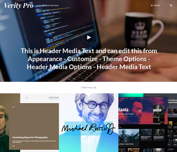 Verity Pro: Portfolio and Blog WordPress Theme