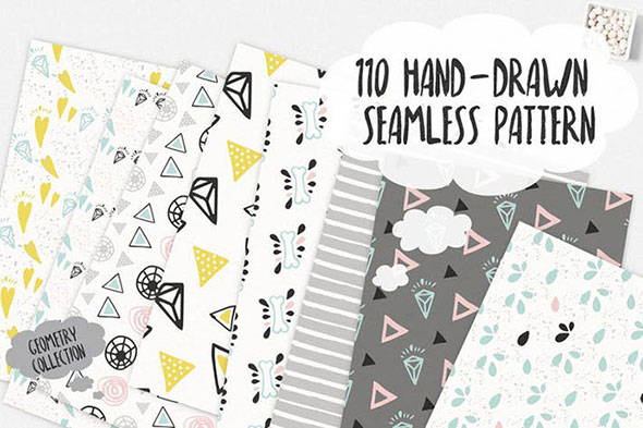 110 Hand-Drawn Seamless Patterns