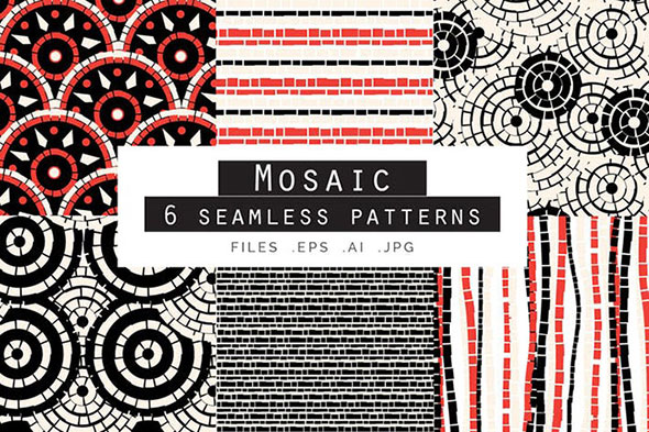 Mosaic Seamless Vector Patterns Set of 6