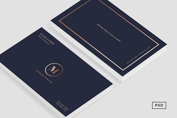 Navy Blue Metallic Business Card
